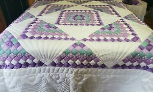DONNA SHARP QUILT & SHAMS POSTAGE STAMP QUILTED HEARTS  VINTAGE QUEEN 94X88