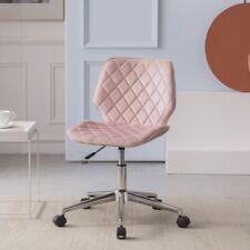Velvet Modern Home Office Chair Armless Task Swivel Mid Back Desk Chairs Pink