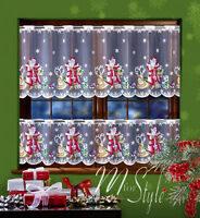 """Cafe Net Curtain Christmas Santa Pattern DROP 19.5"""" OR 27.5""""  SOLD BY METRES"""