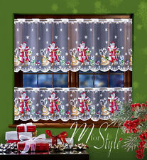 "Cafe Net Curtain Christmas Santa Pattern DROP 19.5"" OR 27.5""  SOLD BY METRES"
