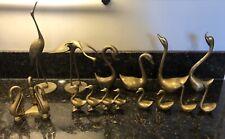 Mid Century Modern MCM Brass Crane Stork Swan Bird Birds Figurines Statue Lot