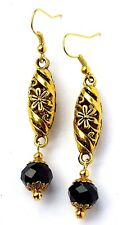 ANTIQUE GOLD FILIGREE OVAL & BLACK CRYSTAL EARRINGS  WITH ORGANZA GIFT BAG
