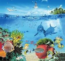 Mar Marinos la vida marina Coral Reef Fish 180cm X 180cm Poliéster Con Ganchos