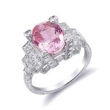Natural Padparadscha Sapphire 3.61 ct in Platinum Ring w Diamonds salmon color