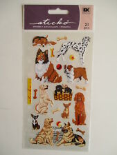 STICKO STICKERS - DOG DAZE puppies retriever bulldog dalmatian