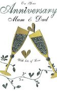 Mum & Dad Anniversary Luxury Champagne Greeting Card Hand-Finished Cards