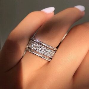 Fashion 18k White Gold Shinny Cubic Zircon Women Wedding Party Jewelry Gift New