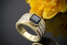 Schmuck Unikat Beeindruckender Saphir Ring mit Carré Diamanten in 750er Gelbgold