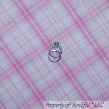 BonEful FABRIC FQ Cotton VTG Seersucker PINK White Plaid Baby Girl Scout Stripe
