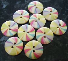 10 x Wooden Rainbow Candy Stripes Buttons 18mm