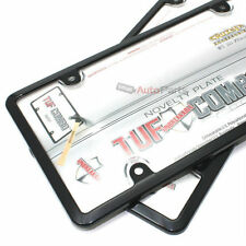 2 Black Plastic License Plate Tag Frames +Clear Tough Shield Cover for Car-Truck