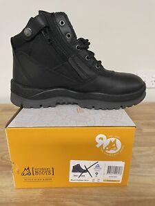 Mongrel Boots 261020,Black, Zip Sider, Steel Toe Safety Work Boots,