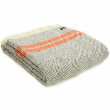 TWEEDMILL 100% Wool Sofa Bed Blanket FISHBONE GREY PUMPKIN ORANGE STRIPE THROW