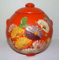 VTG Ransburg Round Orange Cookie Jar With Hand Painted Flowers & Lid 1930's-40's