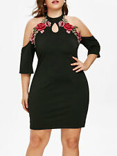 Sexy Women Casaul Dress Plus Size Party Cocktail Bodycon Cold Shoulder Clothing