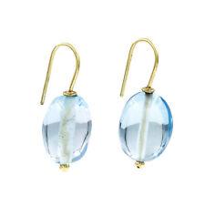 735a81b17eee Castellano Jewels Pendientes con Topacio Azul Oro de Ley 18K Cierre Hippie