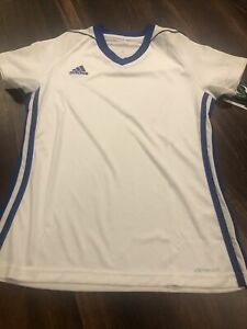 New Adidas Womens Tiro 17 Soccer Jersey Shirt Size XS White Blue