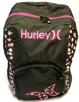 RARE HURLEY BACKPACK   Black & Pink Floral ~ Embroidered ~ Day Pack ~ Book Bag