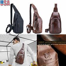 Men's Sling Bag Genuine Leather Chest Shoulder Cross Body Travel School Handbag
