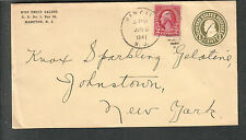 1941 one cent postal cover uprated Miss Emily Saling RR 1 Hampton NJ to NY
