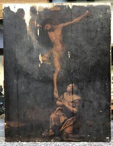 Tableau Ancien Huile Religieux Christ Croix Marie Madeleine XVIIe A Restaurer
