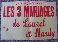 ANCIENNE AFFICHE CINEMA LES 3 MARIAGES DE LAUREL ET HARDY