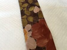Vintage EXCELLO Cravats Tie Taupe and Tan Flowers Floral Tie