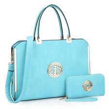 New Dasein Womens Handbags Faux Leather Satchel Bag Briefcase Purse w/ Wallet