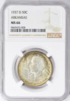 1937-D Arkansas Commemorative Silver Half Dollar - NGC MS-66 - Mint State 66