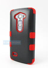 FOR LG POWER L22C DESTINY L21G BLACK RED NATURAL TUFF IMPACT CASE PHONE COVER