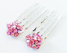 USA Double Accent Mini Hair Comb Small using Swarovski Crystal Bridal PINK TWO