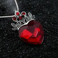 Charm Descendants Red Stone Crystal Heart Crown Pendant Necklace Women Jewellery