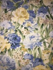 """French Country Chic Yellow/Blue FLORAL VALANCE Curtain Very WIDE 192""""W X 15.5""""L"""