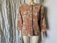 Gudrun Sjoden floral cotton and wool woven  ecru/brown 3/4 sleeved jacket size L