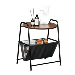Round End Table Bedroom Night Stand Sofa Side Table Snack Table Metal Frame