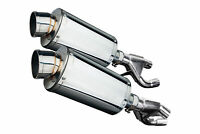 """Delkevic Slip On Yamaha VMAX SS70 9"""" Stainless Steel Oval Muffler Exhaust 84-07"""