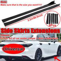 2.2M Universal Car Lower Side Skirts Body Kit Rocker Panel Extension Matte Black
