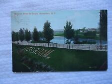Amsterdam NY Mohawk River New York by RAILROAD DEPOT GROUNDS 1910 Used Postcard