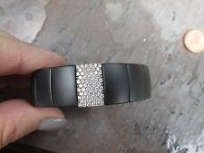 18KT White Gold Roberto Demeglio Pave Diamond Cuff Stretch Bangle Bracelet Matte