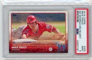 2015 Topps #300 MIKE TROUT ANGELS NO SPARKLE ON HELMET PSA 9 Graded Card