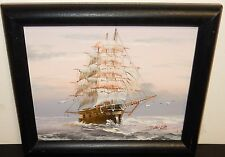 TEILLER SAIL PIRATE SHIP AND BIRDS OIL ON BOARD SEASCAPE PAINTING