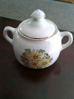 Vint. Staffordshire Summertime Sugar Bowl W/Lid Yellow Daisies  Made in England