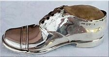 Antique Pin Cushion Sterling Silver Shoe 1909 Edwardian Sewing Accessory (3056)