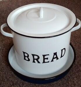 vintage    WHITE ENAMELLED BREAD BIN    and   TRAY