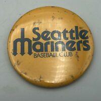 "Vintage Seattle Mariners MLB Baseball Club Trident Logo 3"" Button Pinback  Y4"