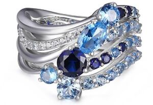 ELLE Sterling Silver Ring w/ Synthetic Spinel, Synthetic Sapphire & Blue CZ