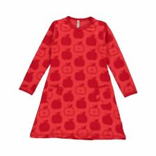 Maxomorra Organic Cotton Baby Girl Red Apple Long Sleeved Dress 6 9 12 18 24 9-12 Months