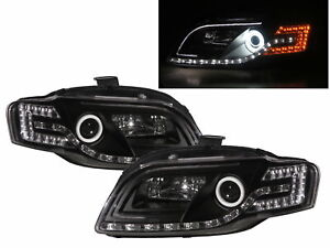 A4/S4/RS4 B7 8E/8H 05-09 Cotton Halo LED R8Look Headlight Black V1 for AUDI LHD