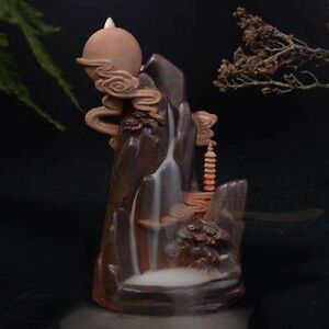 """Multi-Color Ceramic Backflow Incense Holder """"Chasing The Moon"""" Free Cones"""