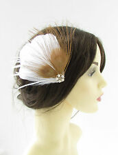 White Old Gold Silver Peacock Feather Fascinator Hair Clip 1920s Bridal Vtg 321